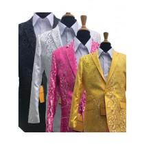 Alberto Nardoni Yellow, Fuschia, White, Black Rayon Tuxedo