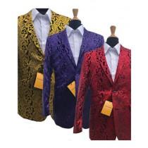 Alberto Nardoni Two Tone Red, Purple, Gold Rayon Tuxedo