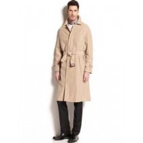 Winter Length Belted Full Sleeve Tan Trench Coat Mens Rain Coat