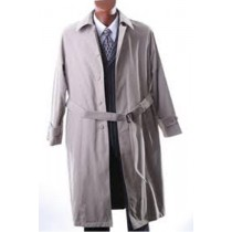 Mens Taupe Full Length with belted Rain and Trench Coat