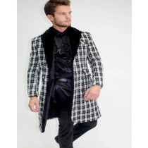 Mens Long-Sleeved Button-White Wool Texture Car Coat