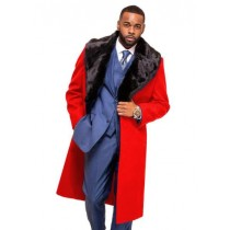 Mens  Trench coat - Red Wool Fabric Trench Coat For Men