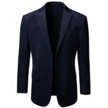 Mens Navy American Regular-Fit Two Button Velvet Blazer