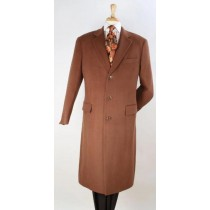 Mens  Light Brown Overcoat - 100% Wool Vicuna - Coat