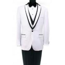 Mens Bryan Michaels Shawl collar White One Button Tuxedo