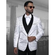 Alberto Nardoni Mens Blazer Shawl Lapel White Sport Coat