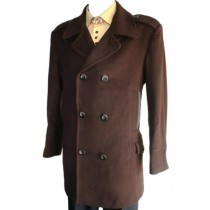 Double Breasted Long Length Pea coat Wool Blend Six Button Brown