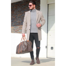 Mens Wool and Cashmere grey Overcoat -grey Topcoat