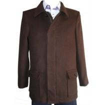 Mens Wool coat with zipper - Brown Peacoat with zipper