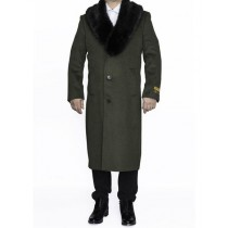 Mens Full Length Removable Fur Collar Olive Green Top Coat / Overcoat