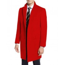 Mens Red Pea Coat-Three Quarter Wool Car Coat