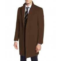 Mens Brown Three-Quarter Wool Car Coat- Pea Coat By Nardoni