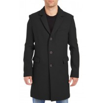 Nardoni Mens Wool Car Coat-Three-Quarter To Kneed Pea Coat