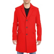 Nardoni Mens Red Wool Car Coat-Three-Quarter Pea Coat
