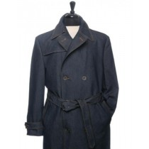 DOUBLE BREASTED SINGLE VENT IN BACK DENIM TRENCH COAT IN NAVY BLUE