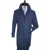 Mens Full Length Dress Top Coat / Overcoat in Navy Blue