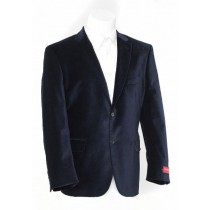Mens Navy Blue Two Button Velvet Sports Jacket
