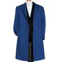 Mens Alberto Nardoni Navy Blue Wool Overcoat - Mens Topcoat
