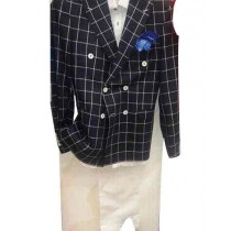 mens black wool coat Double breasted Plaid Windowpane Blazer Sport Coat