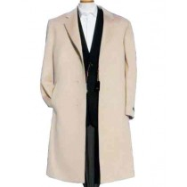 Mens Alberto Nardoni Off White Wool Overcoat - Mens Topcoat