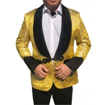 Alberto Nardoni Gold Paisley Sharkskin Party Blazer