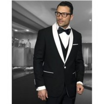 Black Shawl Collar Black Lapel One Button Sport coat