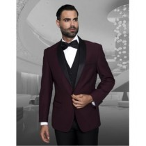 Burgundy Shawl Collar Black Lapel One Button Sport coat