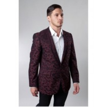 One Button Burgundy Single Breasted Notch Lapel
