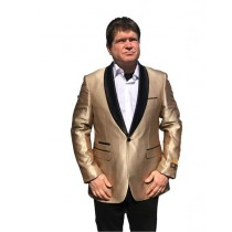 Alberto Nardoni Gold One Button Besom Ticket Pocket Suit