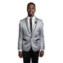 MENS TAZIO ONE BUTTON GREY SLIM FIT BLAZER