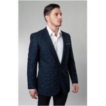 One Button Navy Single Breasted Notch Lapel Pattern Jacket