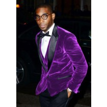 Big And Tall Purple Men's Velvet Sport Coat