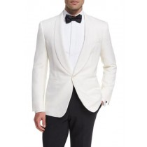 White Shawl Lapel Collar Wool Blazer In Alberto Nardoni