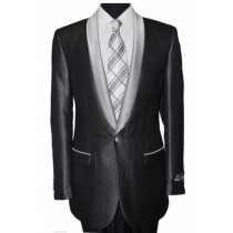 Black Shawl Collar Single Button Jacket / Blazer Sport coat