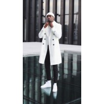 Mens White Double Breasted Overcoat-Cashmere & Wool Car Coat