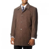 Herringbone 'Rodeo' Light Brown Tweed Cashmere Dress Coat Top Coat