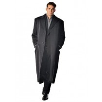 Men's Long Men's Dress Topcoat -  Charcoal Winter Coat - Overcoat - Coat By Lora Piana Fabric