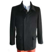 Single Breasted Pea coat Wool Blend Dress Coat with Zipper Black