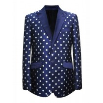 Mens 2 Button Dot Designed Peak Navy White Sport Coat Blazer