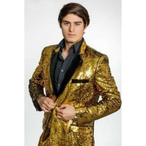 BRAND MEN'S GOLD SEQUINS VELVET LAPEL BLAZER
