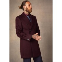 Mens Wool Burgundy ~ Wine Wool Coat ~ Car coat ~Peacoat By Alberto Nardoni
