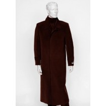 Mens Burgundy 4 Buttons Notch Lapel Full Length All Weather Coat Duster Maxi Coat