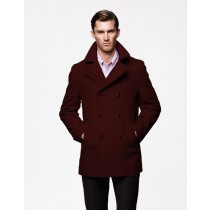 Mens Peacoat Wool Dark Red double breasted Style Coat