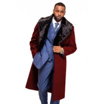 Alberto Nardoni Burgundy Overcoat Fur Collar in Cashmere and Wool