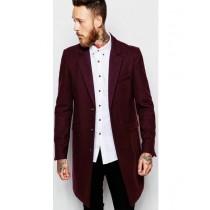 Three button over coats – mens burgundy wine coat