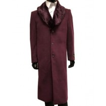 Mens Wool Cashmere Overcoat With Fur Collar Full Length