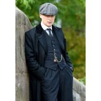 Men's Black Collar Viscose Lining Peaky Blinders Suit - Peaky Blinders Outfit + Overcoat + Hat (Peaky Blinder Custome)
