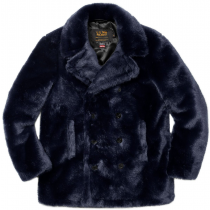 Mens Faux Fur Peacoat - Black Peacoat