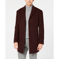 Mens Burgundy Slim Fit  - Overcoat Three Quarter - Mens Topcoat