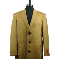 Mens Wool Camel Four Button Single Breasted Top Overcoat - Mens Tan Overcoat